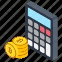 bitcoin accounting, bitcoin calculation, bitcoin calculator, cryptocurrency calculation, mining calculator icon