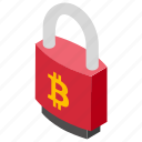bitcoin encryption, bitcoin lock, cryptography of bitcoin, safe cryptocurrency, secure bitcoin icon