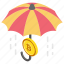 bitcoin and umbrella, bitcoin insurance, bitcoin security, cryptocurrency insurance, secure cryptocurrency icon