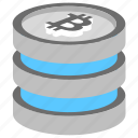 bitcoin database, bitcoin network, blockchain, blockchain database, digital ledger icon