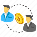 bitcoin exchange, bitcoin traders, bitcoin transactions, double spending, transaction on blockchain icon