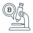 bitcoin, cryptocurrency, microscope, research icon