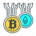 bitcoin, coins, cryptocurrency, currency, ethereum, finance icon