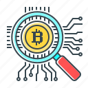bitcoin, control, cryptocurrency, magnifier, search icon