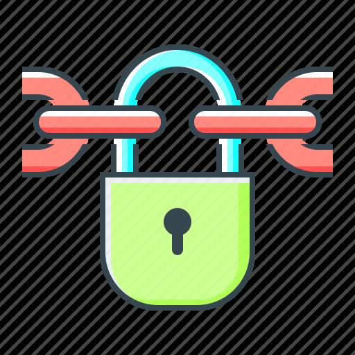 blockchain, chain, lock, locked, protection icon
