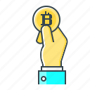 bitcoin, buy, cryptocurrency, hand, pay, payment icon