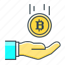 bitcoin, cryptocurrency, hand, profit icon