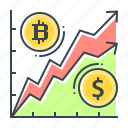 bitcoin, chart, cryptocurrency, dollar, rate, ratio, ratio rate icon