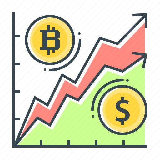 Ratio rate, ratio, dollar, bitcoin, chart, cryptocurrency, rate icon