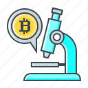 bitcoin, microscope, research, study icon