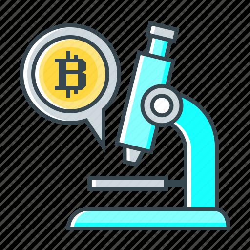 bitcoin, microscope, research, study icon