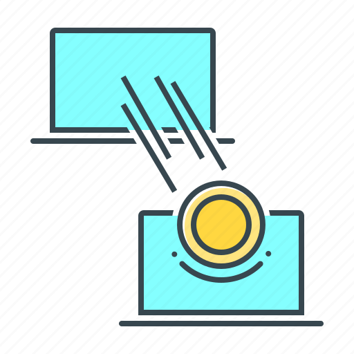 Cryptocurrency, transfer, laptop, transaction, remittance icon