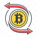 bitcoin, cryptocurrency, transfer icon