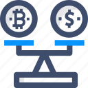 balance scale, bitcoin, conversion, cryptocurrency