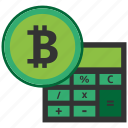 bitcoin, blockchain, calculator, cpu icon