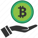 bitcoin, blockchain, calculator, cpu, hand icon