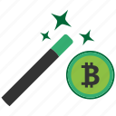 bitcoin, blockchain, calculator, cpu, wizard icon