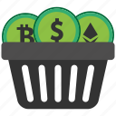 basket, bitcoin, blockchain, calculator, coin, cpu icon