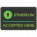 accepted, bitcoin, blockchain, calculator, cpu, ethereum, here icon