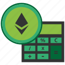 bitcoin, blockchain, calculator, cpu, ethereum icon