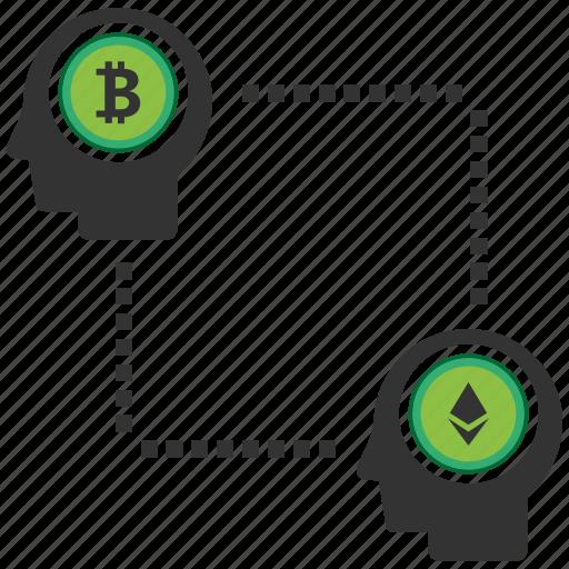 bitcoin, blockchain, calculator, cpu, peer, to icon