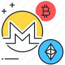 altcoins, bitcoin, blockchain, digital, ethereum, monero, payment icon