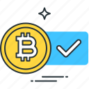 accepted, approved, bitcoin, business, currency, money, payment icon