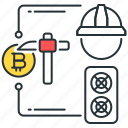 bitcoin, blockchain, craft, digital, miner, mining, rig icon