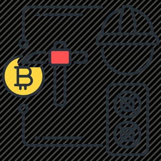 bitcoin, blockchain, craft, digital, miner, mining, rig icon
