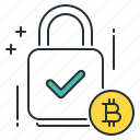 bitcoin, encryption, key, money, padlock, protection, security icon