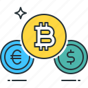 bank, bitcoin, cash, currency, dollar, euro, exchange icon