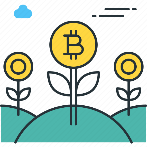 bitcoin, currency, farm, flower, garden, invest, plant icon
