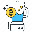 bitcoin, blender, blockchain, cryptocurrency, kitchen, mixer, money icon