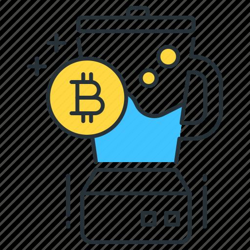 bitcoin, blender, blockchain, cryptocurrency, kitchen, mixer, money icon