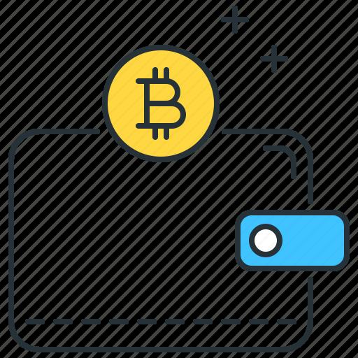 bitcoin, finance, money, payment, purse, storage, wallet icon