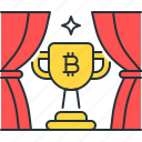 achievement, bitcoin, block, cup, reward, trophy, win icon