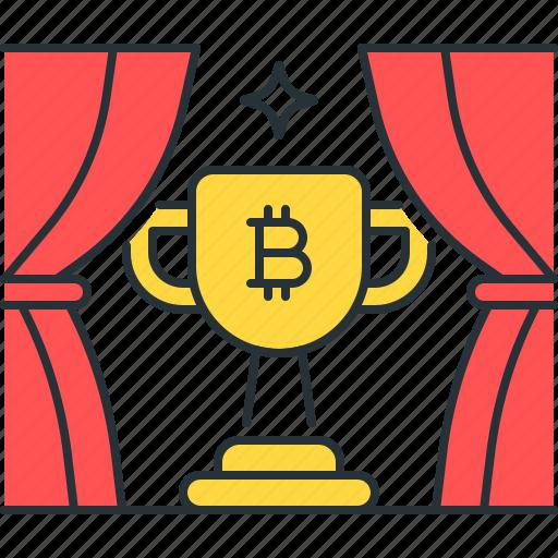 achievement, bitcoin, block, cup, reward, trophy, win icon