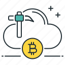 bitcoin, cloud, computing, digital, mining, online, yield icon