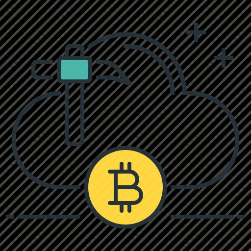 bitcoin, cloud, computing, digital, mining, online, yield icon