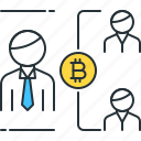 bitcoin, business, double, people, spending, transaction, users icon