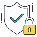 encrypted, guard, padlock, privacy, protected, security, shield icon