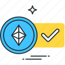 accepted, altcoin, approved, checkmark, confirm, ethereum, success icon