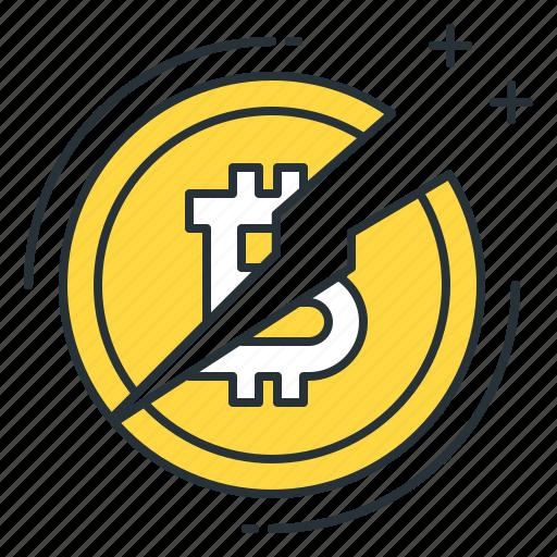 bitcoin, coin, cryptocurrency, divide, halving, money, virtual icon