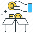 bitcoin, box, currency, financial, hand, ico, storage icon