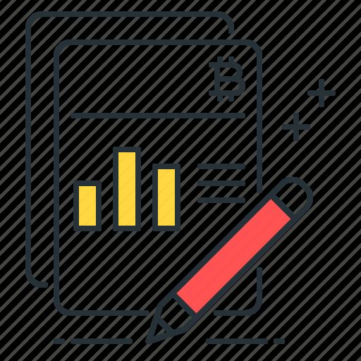 bar, bitcoin, chart, finance, ledger, money, pencil icon