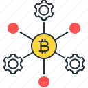 bitcoin, blockchain, crypto, gears, node, process, technology icon