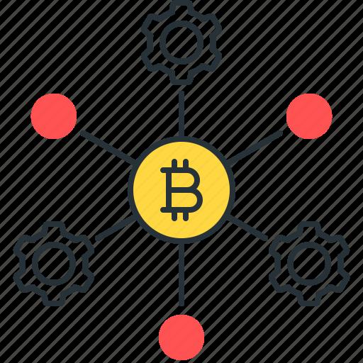 bitcoin, blockchain, crypto, gears, node, process, technology icon