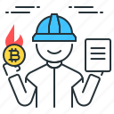 bitcoin, burn, file, fire, hot, miner, proof icon