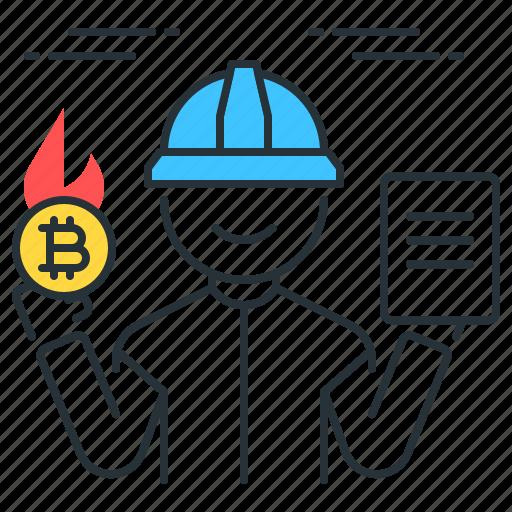 bitcoin, burn, file, fire, hot, miner, proof icon
