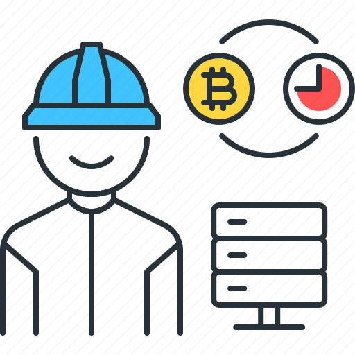 bitcoin, business, capacity, cryptocurrency, miner, proof, user icon